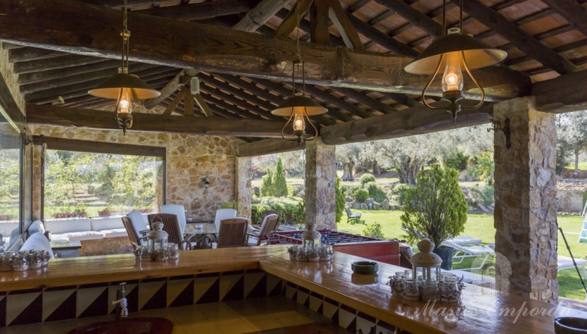 Vista desde el bar del porche desde donde se observa en su conjunto toda en entorno de la pisciana.