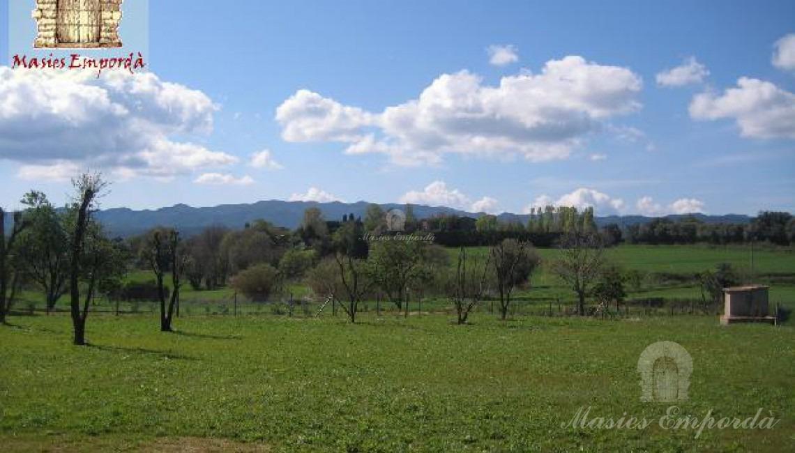 Vista de la parcela de la propiedad con el césped verde como una alfombra que contrasta con el azul del cielo y las nubes blancas que lo salpican
