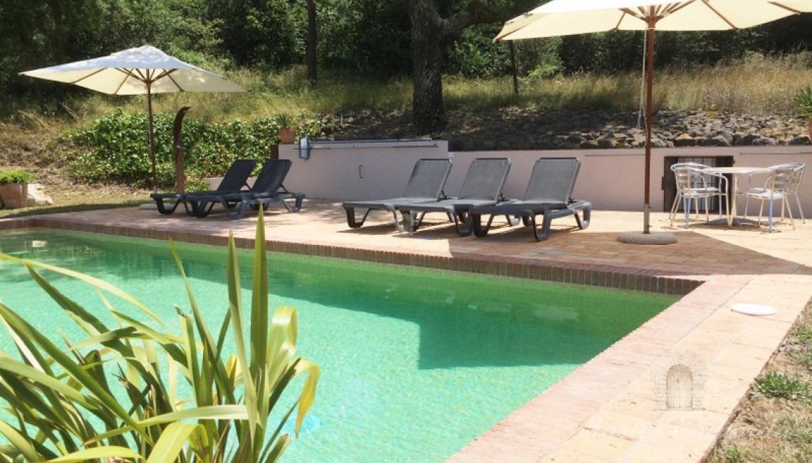 Vista de la piscina de la casa y la zona de solárium de esta
