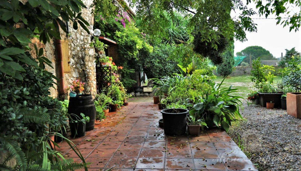 Vista del jardí de la masia