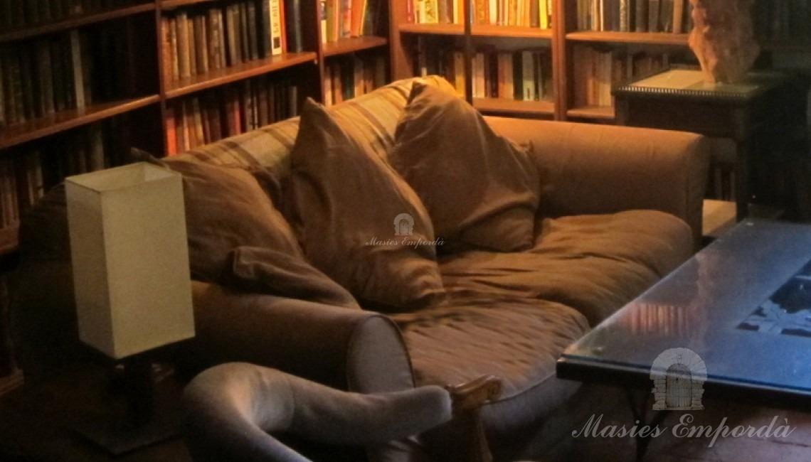 Salón estar y biblioteca con chimenea