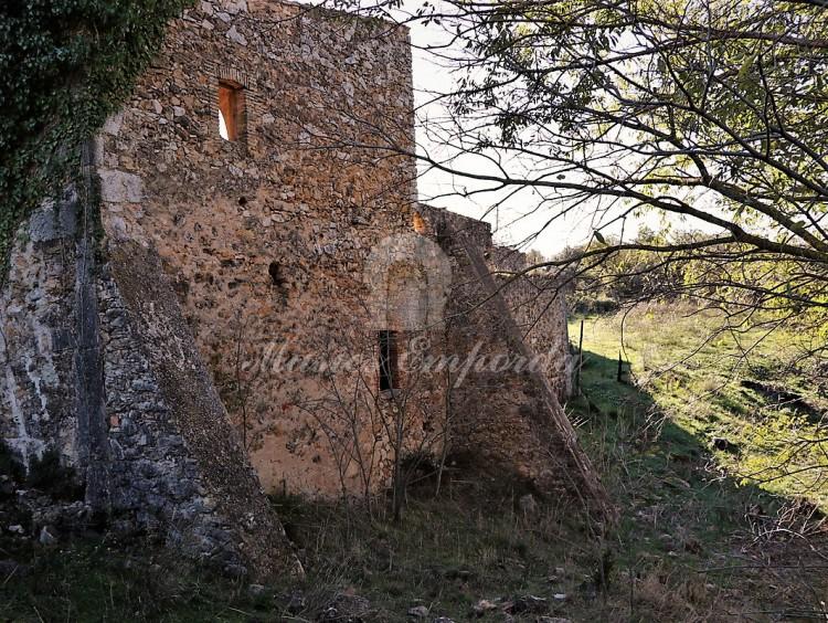 Vista dels contraforts de la part posterior de la masia